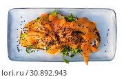Купить «Top view of toast with smoked salmon, avocado, greens, sesame», фото № 30892943, снято 22 июля 2019 г. (c) Яков Филимонов / Фотобанк Лори