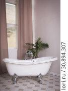 Купить «White bathroom interior in a vintage style», фото № 30894307, снято 12 апреля 2019 г. (c) Дмитрий Черевко / Фотобанк Лори