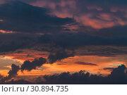 Купить «Cloudy tropical sky at sunset», фото № 30894735, снято 22 марта 2019 г. (c) EugeneSergeev / Фотобанк Лори