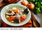 Купить «Fish sterlet soup», фото № 30895083, снято 13 марта 2019 г. (c) Надежда Мишкова / Фотобанк Лори