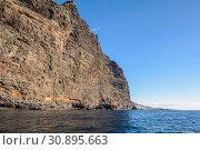 Купить «View from the boat to Los Gigantes rock at Tenerife island - Canary Spain», фото № 30895663, снято 27 декабря 2017 г. (c) Konstantin Shabalin / Фотобанк Лори
