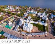 Купить «Aerial view of city of Rostov-on-don with monastery and river Don», фото № 30917323, снято 9 мая 2019 г. (c) Яков Филимонов / Фотобанк Лори