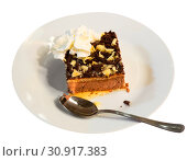 Купить «Slice of soft biscuit cake with cream and chocolate», фото № 30917383, снято 21 января 2020 г. (c) Яков Филимонов / Фотобанк Лори