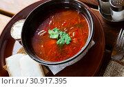 Купить «Appetizing Russian dish borscht», фото № 30917395, снято 27 июня 2019 г. (c) Яков Филимонов / Фотобанк Лори
