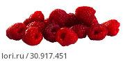 Купить «Close up of ripe red raspberries on white surface, no people», фото № 30917451, снято 22 августа 2019 г. (c) Яков Филимонов / Фотобанк Лори