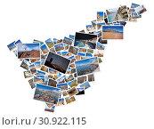 Купить «A collage of my best travel photos of Tenerife, forming the shape of Tenerife island, version 7.», фото № 30922115, снято 25 февраля 2016 г. (c) easy Fotostock / Фотобанк Лори