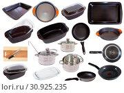 Купить «Set of cooking pan isolated on white background», фото № 30925235, снято 25 октября 2017 г. (c) Яков Филимонов / Фотобанк Лори