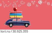 Купить «Back to school car animation», видеоролик № 30925355, снято 1 июня 2019 г. (c) Сергей Петерман / Фотобанк Лори