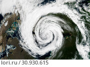 Купить «Cyclone - view from space. Elements of this image are furnished by NASA.», фото № 30930615, снято 28 января 2020 г. (c) easy Fotostock / Фотобанк Лори