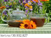 Купить «Чай с календулой в летнем саду», фото № 30932827, снято 26 июля 2017 г. (c) Елена Коромыслова / Фотобанк Лори