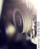 Купить «close up of machine mechanism», фото № 30932959, снято 1 июля 2016 г. (c) Syda Productions / Фотобанк Лори