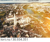 Купить «Aerial view of famous old town Auxerre with river in France», фото № 30934351, снято 11 октября 2018 г. (c) Яков Филимонов / Фотобанк Лори