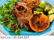 Купить «Pork chop with vegetables», фото № 30934507, снято 24 августа 2019 г. (c) Яков Филимонов / Фотобанк Лори