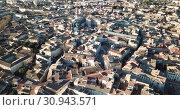 Купить «Aerial view of the french city of Carpentras. Provence, France», видеоролик № 30943571, снято 6 января 2019 г. (c) Яков Филимонов / Фотобанк Лори