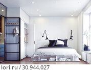 Купить «modern bedroom interior.», фото № 30944027, снято 13 ноября 2019 г. (c) Виктор Застольский / Фотобанк Лори