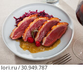 Купить «Poultry dish – duck breast Magret with cabbage», фото № 30949787, снято 3 августа 2020 г. (c) Яков Филимонов / Фотобанк Лори
