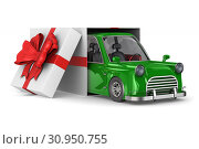 Купить «car in gift packing on white background. Isolated 3D illustration», иллюстрация № 30950755 (c) Ильин Сергей / Фотобанк Лори