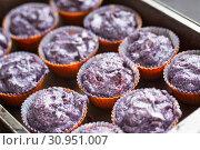 Купить «Prepare gluten free blueberries muffin. Raw lilac dough in baking tins», фото № 30951007, снято 6 июня 2017 г. (c) Ирина Мойсеева / Фотобанк Лори