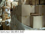 Купить «Interior of warehouse store or industry plant», фото № 30951547, снято 21 августа 2019 г. (c) Яков Филимонов / Фотобанк Лори