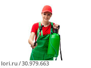 Купить «Female pest control contractor isolated on white», фото № 30979663, снято 29 октября 2018 г. (c) Elnur / Фотобанк Лори