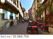 Купить «Пешеходная улица старого города. Город Кольмар, Эльзас, Франция.», фото № 30984759, снято 18 апреля 2019 г. (c) Bala-Kate / Фотобанк Лори