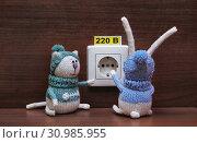 Купить «Игрушки. Кот и заяц изучают розетку», эксклюзивное фото № 30985955, снято 2 апреля 2011 г. (c) Dmitry29 / Фотобанк Лори