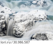 Waterfall Urridafoss during winter, river Thorsa in southern Iceland near Sellfoss. Europe, Northern Europe, Scandinavia, Iceland, February. Стоковое фото, фотограф Martin Zwick / age Fotostock / Фотобанк Лори