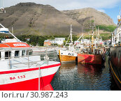 The harbour. Bildudalur at fjord Sudurfjirdir. The remote Westfjords (Vestfirdir) in north west Iceland. Europe, Scandinavia, Iceland. Стоковое фото, фотограф Martin Zwick / age Fotostock / Фотобанк Лори