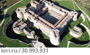 Купить «Aerial view of Catalan fortress Fort de Salses at sunny day, France», видеоролик № 30993931, снято 3 января 2019 г. (c) Яков Филимонов / Фотобанк Лори