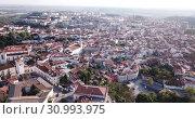 Купить «Aerial view of Santarem district with buildings and landscape, Portugal», видеоролик № 30993975, снято 21 апреля 2019 г. (c) Яков Филимонов / Фотобанк Лори
