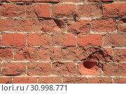 Купить «Old Red Brick Wall, Grunge Background», фото № 30998771, снято 13 августа 2017 г. (c) Иван Карпов / Фотобанк Лори