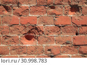 Купить «Old Red Brick Wall, Grunge Background», фото № 30998783, снято 13 августа 2017 г. (c) Иван Карпов / Фотобанк Лори
