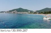 Купить «Budva, Montenegro - June 12.2019. View of the popular resort of Budva», видеоролик № 30999287, снято 18 августа 2019 г. (c) Володина Ольга / Фотобанк Лори