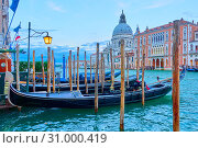 Gondolas on The Grand Canal in Venice (2018 год). Стоковое фото, фотограф Роман Сигаев / Фотобанк Лори