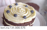 Купить «confectioner spreads a layer of berries on a cream of the cake, the inner layer», видеоролик № 31000575, снято 2 февраля 2019 г. (c) Ирина Мойсеева / Фотобанк Лори