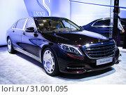 Купить «Mercedes-Benz Maybach W222 S400 4Matic», фото № 31001095, снято 1 сентября 2016 г. (c) Art Konovalov / Фотобанк Лори
