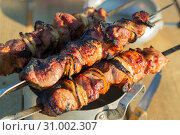 Купить «Food on the fire, picnic. Cooked grilled fragrant delicious hot grilled shashlik barbeque on coals on the grill of marinated pork, lamb and beef with onions on skewers on the table», фото № 31002307, снято 16 июня 2019 г. (c) Светлана Евграфова / Фотобанк Лори