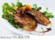 Купить «Close up of delicious fried pork chops with avocado and berries», фото № 31004175, снято 16 июля 2019 г. (c) Яков Филимонов / Фотобанк Лори