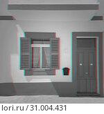 Купить «Building with door and window and digital signal glitch effect», фото № 31004431, снято 17 мая 2019 г. (c) Kira_Yan / Фотобанк Лори