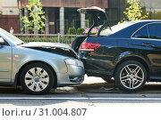 Купить «car crash accident on street. damaged automobiles», фото № 31004807, снято 17 июня 2019 г. (c) Дмитрий Калиновский / Фотобанк Лори