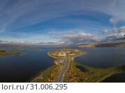 Купить «Город-остров Свияжск, вид сверху, панорама», фото № 31006295, снято 13 октября 2018 г. (c) Геннадий Соловьев / Фотобанк Лори