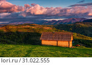 Купить «Shed on the grassy hillside in red evening light. gorgeous springtime rural landscape in mountains under the blue sky with pink clouds», фото № 31022555, снято 8 мая 2017 г. (c) easy Fotostock / Фотобанк Лори