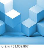 Купить «Blue cubes installation, 3 d abstract», иллюстрация № 31039807 (c) EugeneSergeev / Фотобанк Лори