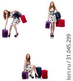 Купить «Beautiful woman in polka dot dress with suitcases isolated on wh», фото № 31045299, снято 25 февраля 2020 г. (c) Elnur / Фотобанк Лори