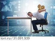Купить «Employee losing energy from too much work», фото № 31091939, снято 16 июля 2019 г. (c) Elnur / Фотобанк Лори