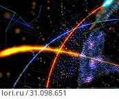 Купить «Abstract Polygonal Space Low Poly Dark Background With Connecting Dots And Lines. 3D Rendering», фото № 31098651, снято 22 июля 2019 г. (c) easy Fotostock / Фотобанк Лори