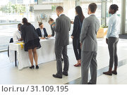Купить «Group of diverse business people waiting for interview», фото № 31109195, снято 21 марта 2019 г. (c) Wavebreak Media / Фотобанк Лори