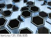 Купить «3d rendering, dark hexagonal background, sci-fi background, computer digital background», фото № 31156935, снято 18 сентября 2019 г. (c) easy Fotostock / Фотобанк Лори