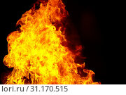 Купить «Photo of red fire flame on black background», фото № 31170515, снято 11 февраля 2012 г. (c) easy Fotostock / Фотобанк Лори