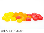 Medical lozenges for relief cough, sore throat and throat irritation on white background. Стоковое фото, фотограф YAY Micro / easy Fotostock / Фотобанк Лори